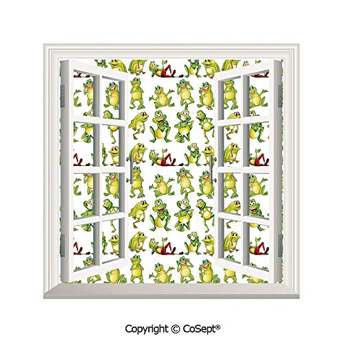 SCOXIXI Removable Wall Sticker,Frogs in Different Positions Funny Happy Cute Expressions Faces Toads Cartoon,Window Sticker Can Decorate A Room(25.86x22.63 -