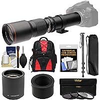 Vivitar 500mm f/8.0 Telephoto Lens with 2x Teleconverter (=1000mm) + Monopod + Backpack + Filters Kit for Nikon 1 J2, J3, J4, S1, V1, V2, V3 Camera