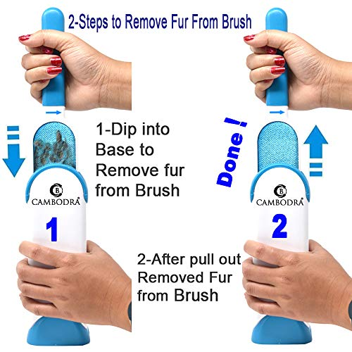 Lint Brush - Pet Hair Remover Brush - Dog & Cat Fur Remover with Self-Cleaning Base - Efficient Double Sided Animal Hair Removal Tool - Perfect for Clothing, Furniture, Couch, Carpet, Car Seat- BONUS by Cambodra (Image #4)