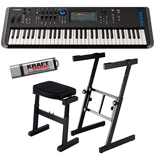 Yamaha MODX6 Synthesizer with Headphones, Z-Frame Stand, Z-Frame Bench and Flash Drive