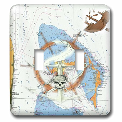 Print of Bahamas Chart with Shipwreck and Ships Wheel Double Toggle Switch ()