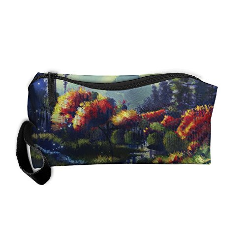 Portable Makeup Cosmetic Storage Bag Appropriate Capacity Organization Pouch With Handle Art Painted Landscape - Erie In Pa Shopping