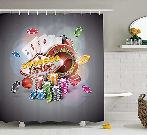 Shower Curtains for Bathroom Decoration, Welcome to Casino Colorful Chips Cards Dice Roulette Jackpot Fabric Bathroom Decor Set with Hooks