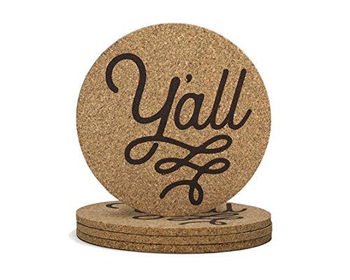 Y'all Texas Coaster Set Cork 3.5 Inch Coasters - 4 Texas Coasters Texas ()