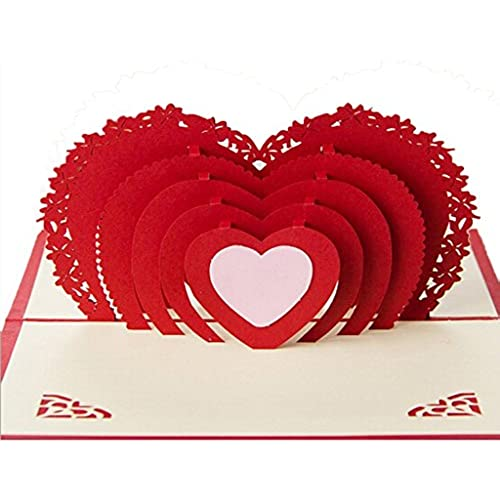 (5X Heart shaped greeting cards)KUCHANG 3D Pop-up Greeting Card By Chinese Paper-Cut Art Greeting card for Valentine's Sales