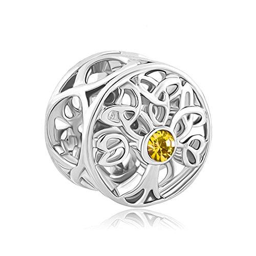 Beads Fit Pandora Bracelets (LuckyJewelry New Fashion Celtic Knot Birthstone Crystal Charms Sale Cheap Beads Fit Pandora Bracelet Gifts (November))