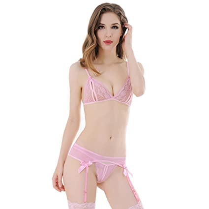 c39cfad97f Amazon.com  angel3292 Clearance Deals Women Sexy See-through Cutout Bandage  Bra with G-String Garter Underwear Set  Home   Kitchen