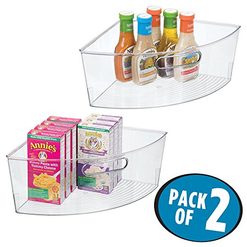 mDesign Kitchen Cabinet Lazy Susan Storage Organizer Bin with Front Handle - Large Pie-Shaped 1/4 Wedge, 6