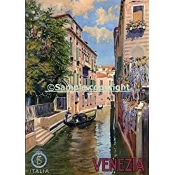 "Venezia Venice Gondola City in Northern Italy Italia Italian Tourism Travel 12"" X 16"" Image Size Vintage Poster Repro. Available in 4 sizes"