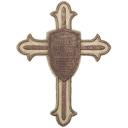 Full Armor of God Shield Ephesian 6:15 Brown 13 Inch Resin Stone Wall Cross ()