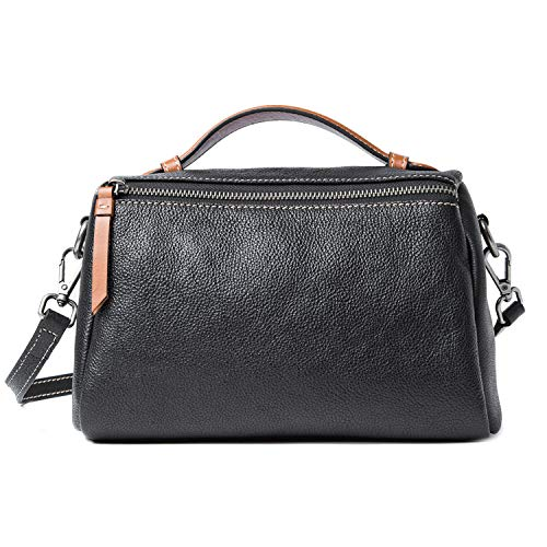 - Small Barrel Bag, FIXM Full Grain Leather Crossbody Bag Handbag for Women
