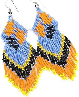 extra long earrings Blue and orange earrings native earrings leaf seed beads earrings feather earrings blue beaded fringe earrings,