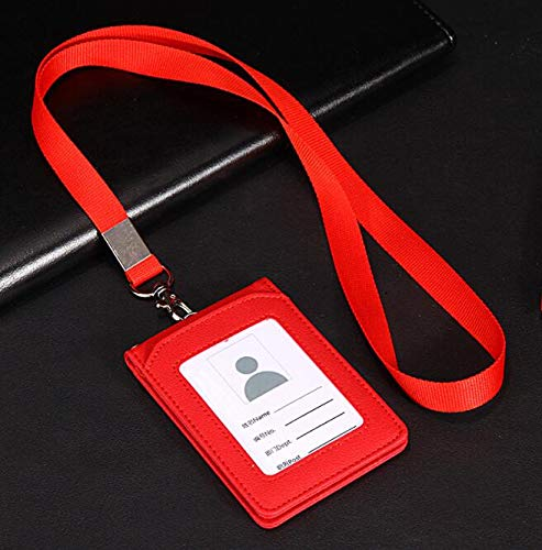 1 pieza de cuero soporte de tarjeta de cr/édito Id Card Case Holder /Útil Monedero con correa para el cuello Collar titular de la tarjeta de visita Id insignia Multi ranura para tarjeta titular