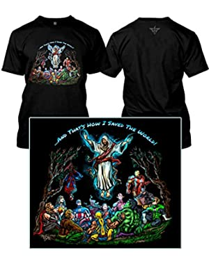Wear and That's How I Saved The World - Ascension Jesus DC Marvel Superheroes (Adult S, Black)