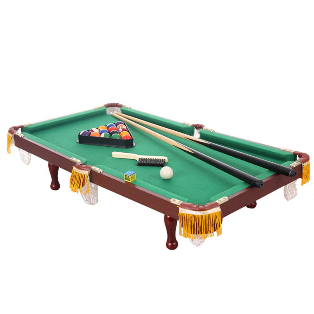 QWERTU Small Table Billiards, Deluxe Mini Wooden Table Top Pool Family Fun Game Complete with Balls Cues Chalk Cloth Brush and Triangle by QWERTU