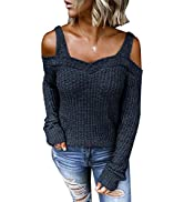 HOTAPEI Womens Long Sleeve Cold Shoulder Halter Neck Hand Knit Sweater Tops Sexy Pullover Backles...
