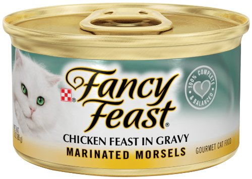 Fancy Feast Gourmet Cat Food, Marinated Morsels Chicken Feast in Gravy, 3-Ounce Cans (Pack of 24), My Pet Supplies