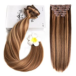 "20"" Clip in Hair Extensions Human Hair Clip on Extensions for Women 120gram/4.2oz 8 Pieces Chocolate Brown Mixed Strawberry Blonde(P4/27#)"