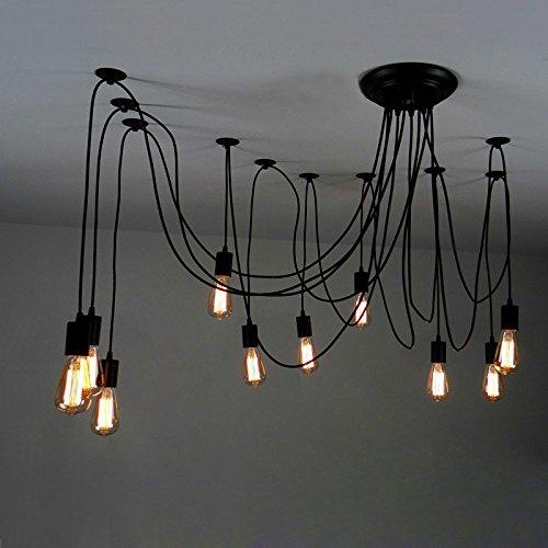 Multiple pendant light amazon jiayoujia 10 light adjustable swag multiple pendant black edison bulb included mozeypictures Gallery