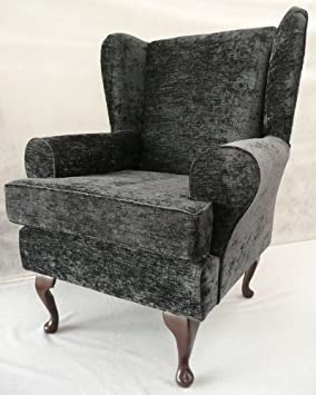 Grey chenille Queen anne design wing back fireside high back chair