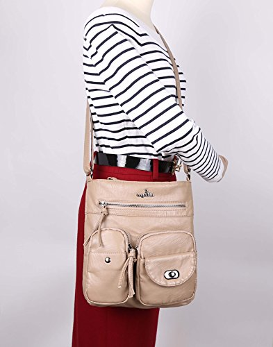 Angelkiss Washed Leather Crossbody Shoulder Bags Ultra Soft Multi Zipper Pockets Cell Phone Purses Girls Daily Handbags