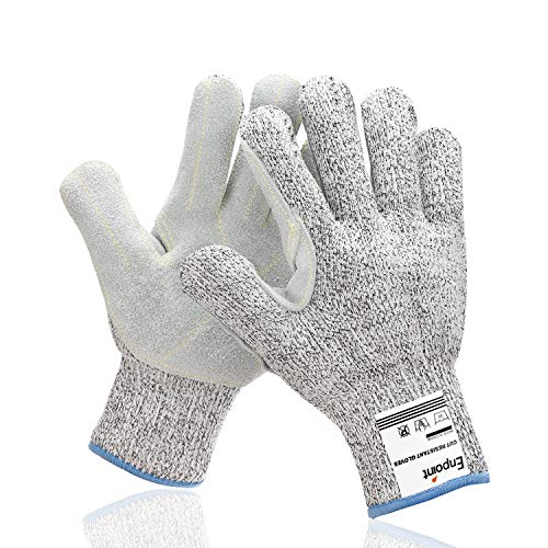 Leather Work Gloves Men, EnPoint Puncture & Cut Resistant Split Leather Glove, Palm Safety Thick Gloves for Metalworking Gardening Warehousing Glass Moving Logistic Construction