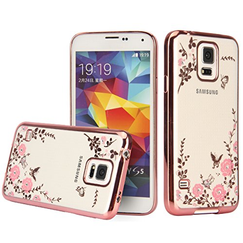 Samsung Galaxy S5 Crystal TPU Cover - UZZO Luxury Stylish Design Electroplated Rose Gold Frame TPU Bumper Case With Bling Diamond and Flower Series Clear Silicone Case for Samsung Galaxy S5
