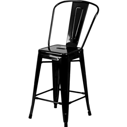 Great PATIO Lounge Chairs Clearance Sale Glossy Black Finish Minimalist Steel  24u0026quot; Bar Stool Industrial Dining