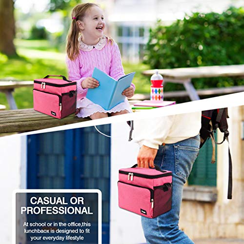 Leakproof Reusable Insulated Cooler Lunch Bag  Office Work Picnic Hiking Beach Lunch Box Organizer with Adjustable Shoulder Strap for WomenMenPink