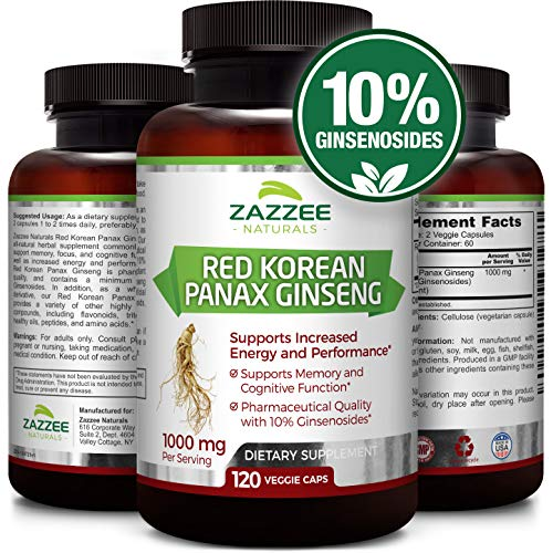 Red Korean Panax Ginseng | 10% Ginsenosides | Extra Strength | 1000 mg per Serving | 120 Veggie Caps | Vegan, Non-GMO and All-Natural | Premium Support for Energy, Performance ()