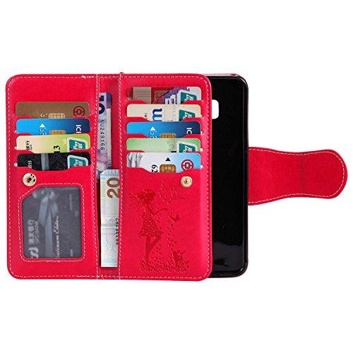 Funda Samsung Galaxy S8, Vandot Premium PU Cuero Pintado Patron Funda para Samsung Galaxy S8 TPU Interior Bumper Shell Billetera Caja de Teléfono con 9 Ranuras Tarjetas, Correa para la muñeca, Función YHNV 06