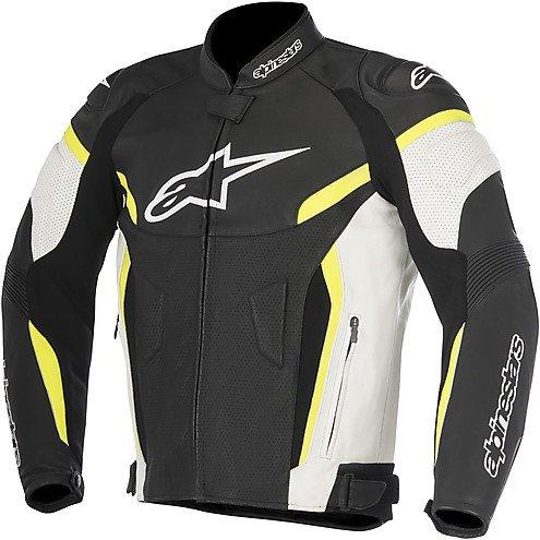 (Alpinestars GP Plus R v2 Mens Airflow Leather Jacket Black/Yellow 56 EUR)