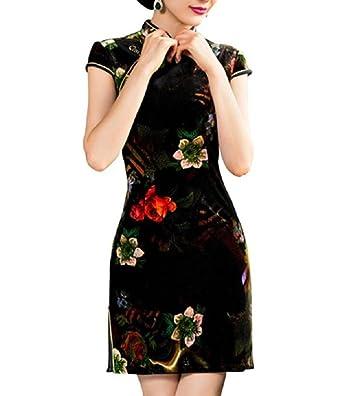 bd931c10f Lazutom Women's Vintage Chinese Style Mandarin Collar Short Sleeve Cheongsam  Qipao Party Dress (Black,