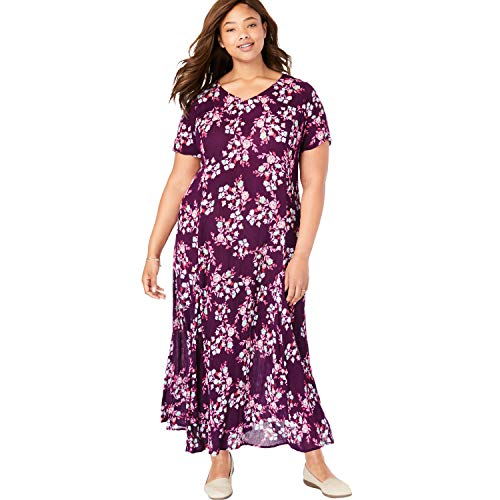Woman Within Women's Plus Size Crinkle Dress - Dark Berry Leafy Floral, 3X Crinkle Short Sleeve Shorts