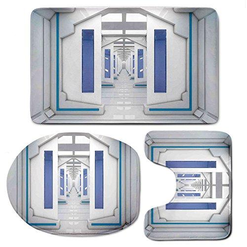 3 Piece Bath Mat Rug Set,Outer-Space-Decor,Bathroom Non-Slip Floor Mat,Robotic-Space-Mission-Vehicle-Solar-System-Journey-to-Universe-Milky-Way,Pedestal Rug + Lid Toilet Cover + Bath Mat,Blue-White by iPrint