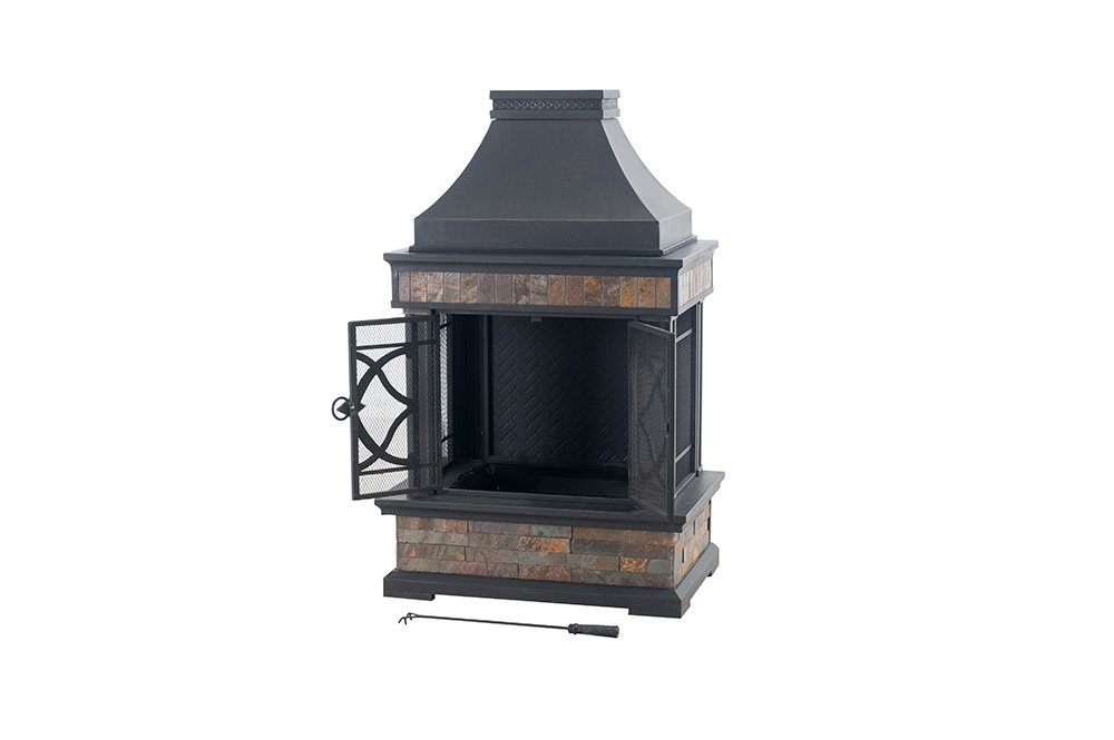 Sunjoy 35.4'' x 23.6'' x 56.6'' Elson Slate and Steel Fireplace - Black Bronze, Large by Sunjoy