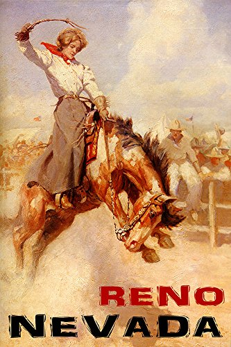 "RODEO RENO NEVADA COWGIRL HORSE BRONC RIDING 16"" X 24"" IMAGE SIZE VINTAGE POSTER REPRO MATTE PAPER WE HAVE OTHER SIZES"