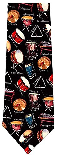 Museum Artifacts Mens Percussion Instruments Necktie - Black - One Size Neck Tie
