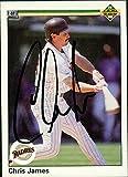 Signed James, Chris (San Diego Padres) 1990 Upper Deck Baseball Card autographed
