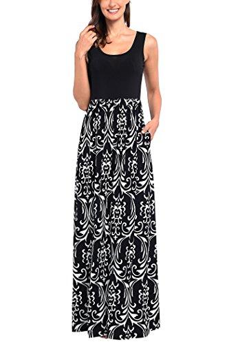 Comila Womens Summer Sleeveless Floral Print Tank Long Maxi Dress with Pockets
