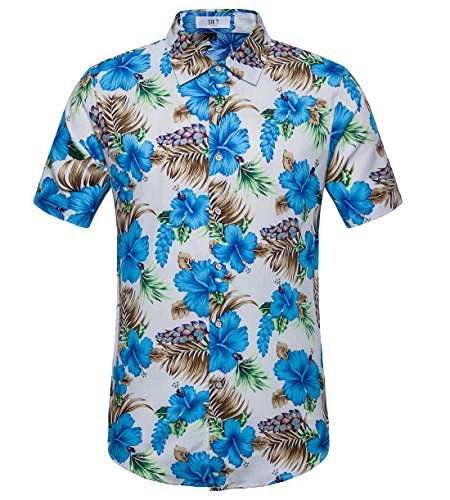 SIR7 Men's Hawaiian Flower Ptint Casual Button Down Short Sleeve Shirt Blue - Shop Hawaiian