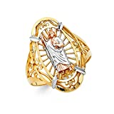 Ioka Jewelry - 14K Tri Color Solid Gold Shepard Religious Ring - size 6