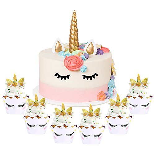 Homgaty Handmade Gold Unicorn Cake Topper Sets (18Pack), included with Unicorn Horn, Ears,Eyelash,6Pcs Unicorn Cupcake Toppers and 6Pcs Wrappers Double Sided for Baby Shower, Wedding and Birthday -