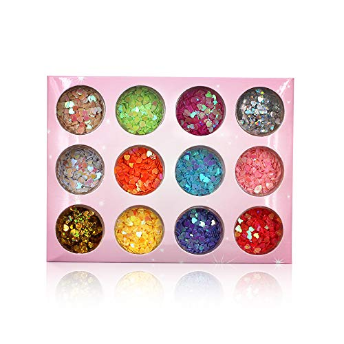 YesLady Nail Art Charms Sequin Heart Shape Glitter Slime Flakes For Nail Face Eye Slime 12 colors