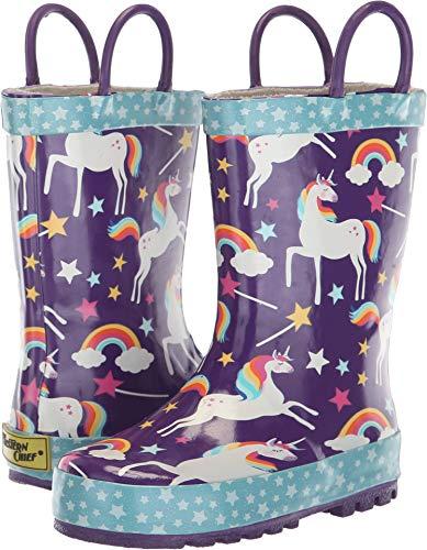 Western Chief Girls' Waterproof Printed Rain Boot with Easy Pull on Handles, Unicorn Dreams 12 M US Little Kid -