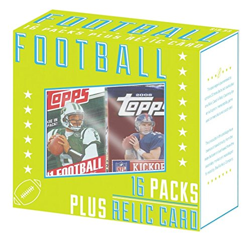 Fairfield NFL Variety of Football Collectors Trading Different Years, Box of 16 Packs of Cards and 1 Guaranteed Relic (Relic Football)