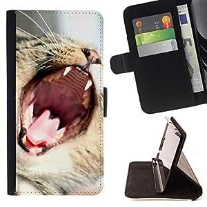 - CUTE TEETH CAT MOUTH FUNNY YAWN ROAR - - Prima caja de la PU billetera de cuero con ranuras para tarjetas, efectivo desmontable correa para l Funny HouseFOR HTC One M8