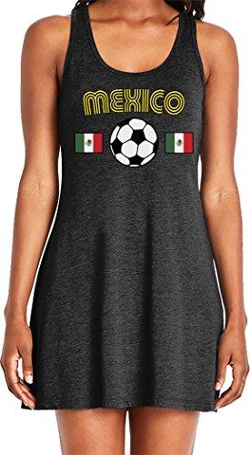 Amdesco Ladies Mexico Soccer, Love Mexican Futbol Football Casual Racerback Tank Dress, Black 2XL -