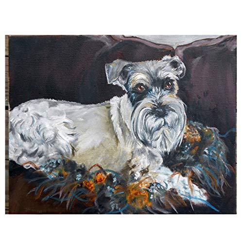 (Zimal 5D DIY Diamond Paintings Animal Cross Stitch Full Round Diamond Embroidery Schnauzer Dog Modular Home Decoration 11.8 x 15.8)