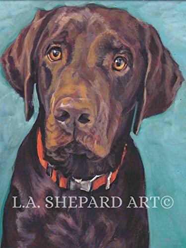 (A Labrador Retriever dog art portrait print of an LA Shepard painting 12x16